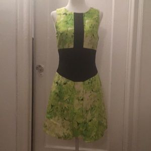 Tibi floral color blocked dress